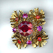 Red and Pink Rhinestone Made in Austria Pin