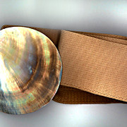 Signed and Numbered Abalone Shell Stretch Belt