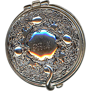Very Ornate Silver Metal Compact Mirror Case