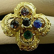 1960's Gold Tone Clover Designed Cocktail Ring.
