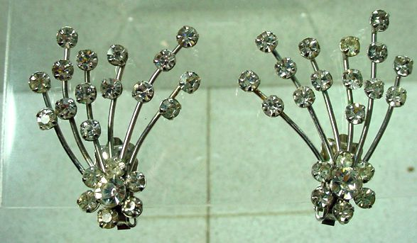 Weiss Unique Rhinestone Clip On Earrings, 1950's!