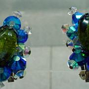 Charming Hobe Crystal Clip On Earrings, 1960's.
