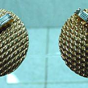 1950's Gold Tone and Rhinestone Julio Earrings