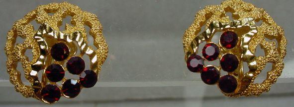Trifari 1960's Gold Tone with Red Rhinestone Earrings, Mint!