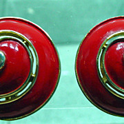 Trifari, 1960's Red Enamel, Shell Shaped Earrings.
