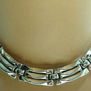 Trifari Silver Tone Link Necklace, 1950's.