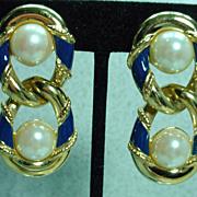 1980's Richelieu Drop Earrings with Clip On Backs, Elegant!