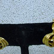 Charming Trifari Brushed Gold Petal, Clip On Earrings, 1960's