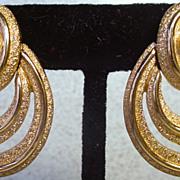 1980's Monet, Brushed Gold Multi Hoop Earrings.