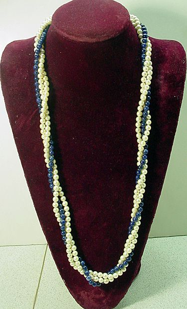 Elegant Lapis and Cultured Pearl 3 Strand Necklace, 1980's