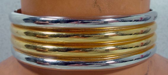 Striking Alexis Kirk Silver and Gold Collar Necklace, 1980's!