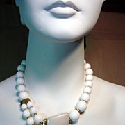 1980's Trafari, White Bead Necklace…