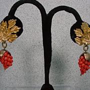 Nettie Rosenstein Faux Gold and Coral Drop Earrings, 1960's