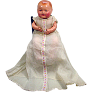 Adorable 1920's Composition Baby Doll with Blue Tin Eyes and Open Mouth!