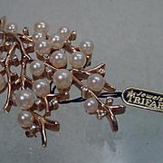 Mint Vintage Trifari Pearl and Rhinestone Brooch with Hang Tag