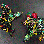 Vintage Lunch At The Ritz Star Earrings, Dated 1987!