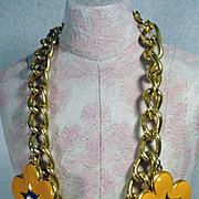 Vintage Escada Designer Statement Flower Necklace, 1980's