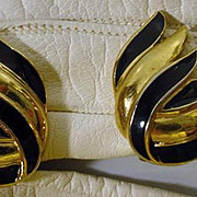 Vintage 1960's Trifari Faux Gold and Enamel Clip on Earrings