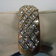 Vintage Trifari Hinged  Wide Bangle Bracelet, 1970's