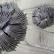 Vintage Monet Brooch and Earring Set, 1960's