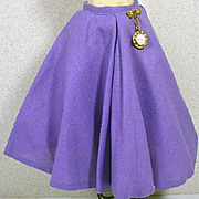 Vintage Madame Alexander Cissy Lavender Linen Skirt with Watch Fab, 1950's