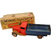 Vintage Minic Miniature Tin Truck by Lines Bros. England with Original Box, 1930's