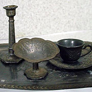 Antique Miniature Metal Tray, Cup & Saucer, Candle Stick and Candy Dish, 1900's