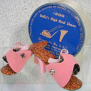 "SALE PENDING Vintage 1950's High Heel Doll Shoes for 20"" Fashion Doll,MIP"