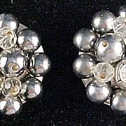 1980's CORREANI,Made in Italy, Silver and Rhinestone Earrings