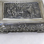 Vintage Primans Silverplated Repousse Box-Peasant Scene  Very heavy