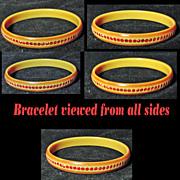 Celluloid Red Rhinestone Bangle Bracelet