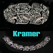 Kramer Openwork Heart Leaves with Rhinestone Stems Bracelet