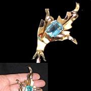 Sterling  Silver Gold Overlay Art Nouveau Art Deco Blue Topaz Art Glass Brooch