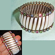 Rhinestone Thermoset Simulated Mother of Pearl Expansion Bracelet Signed Trinidad
