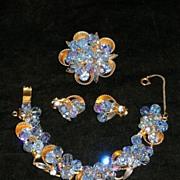 Juliana (D&E) Blue Aurora Borealis Rhinestone Parure Bracelet Brooch Earrings