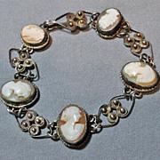 Antique 800 Silver Gilt Carved Shell Cameo Bracelet