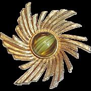 Accessocraft Gold Plated Art Glass Pinwheel Brooch