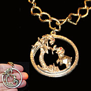 Elephant and Donkey in Palm Tree Charm Bracelet Huge Charm