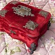 SOLD Faded grandeur 19th C French tufted red  &  silk vanity dresser box