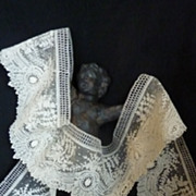 SOLD Exquisite flounce UNUSED  Brussels point de gaze needle lace + 5 yards