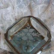 SOLD 19th C. French ormolu etched bevelled glass trinket box casket floral motifs