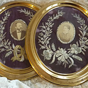 SOLD Superb pair antique French  frames photos metallic embroidery floral bow embellishments