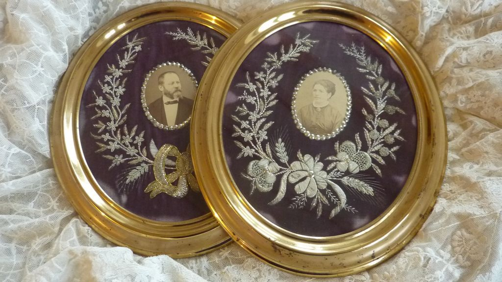 Superb pair antique French  frames photos metallic embroidery floral bow embellishments