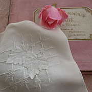 SOLD Exquisite antique French hand embroidered handkerchief monogram