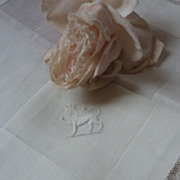 SOLD Aristocratic  CROWN Duke lion French embroidered handkerchief lace