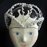 SOLD Delicious French wax bride's  headdress Juliette cap 1920 's