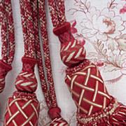SOLD Superb pair unused vintage French silk tassel tie backs cranberry cream