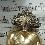 SOLD Delicious 19th C.French silver vermeil flaming sacred heart ex voto reliquary