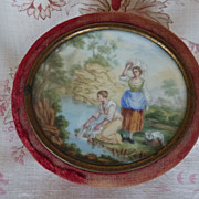 SOLD Faded grandeur antique French boudoir trinket box painted medallion