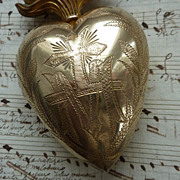 SOLD Faded grandeur french ormolu flaming sacred heart ex voto reliquary
